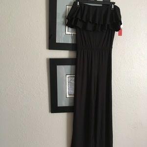 Black, ruffle bodice jumpsuit, size small